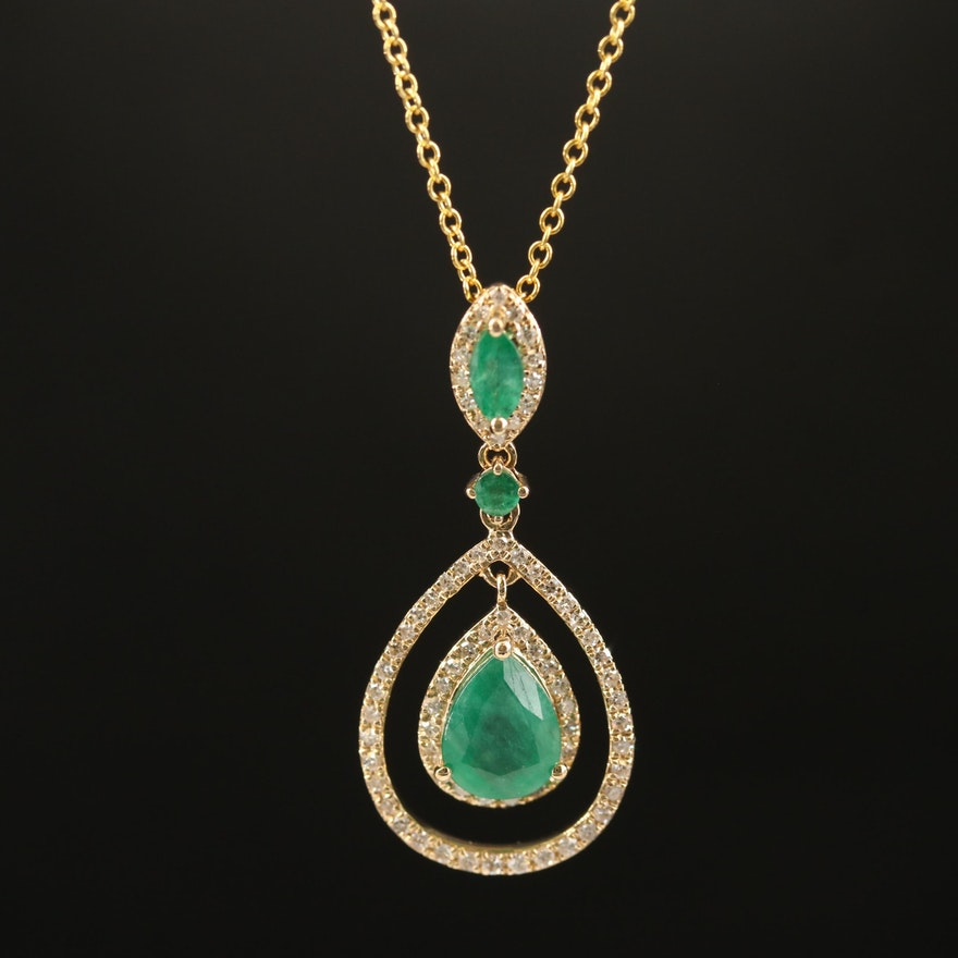 EFFY 14K Emerald and Diamond Pendant Necklace