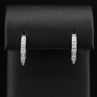 EFFY 14K Channel Set Diamond Hoop Earrings