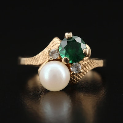10K Quartz Doublet, Pearl and Gemstone Bypass Ring