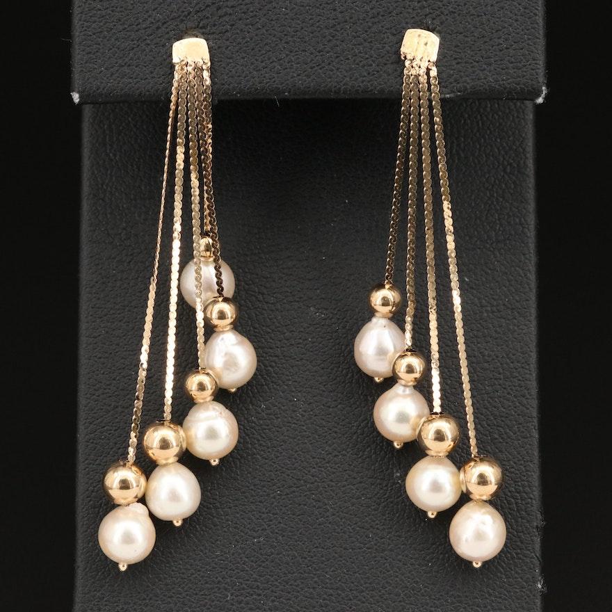 14K Pearl Waterfall Earrings