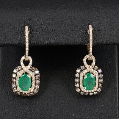 EFFY 14K Emerald and Diamond Earrings
