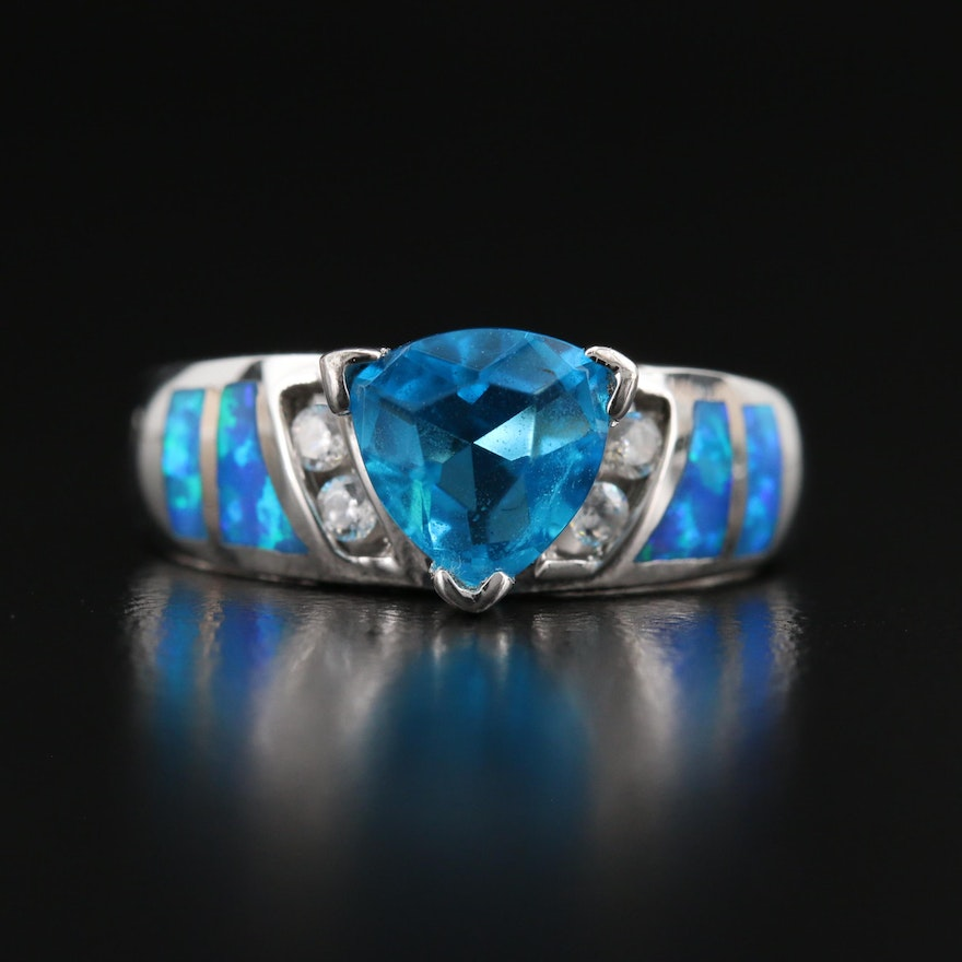 Sterling Apatite, Opal and Gemstone Ring