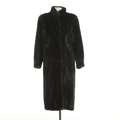 Dark Mahogany Mink Fur Coat with Stand Collar