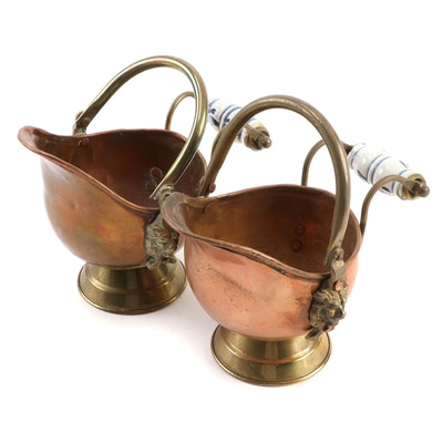 Copper and Brass Delft Style Handle Coal Scuttles
