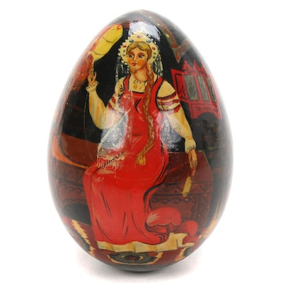 Russian Hand-Painted Lacquer Egg