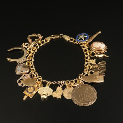 14K Charm Bracelet with Heart, Shell Cameo and Order of the Eastern Star Charms