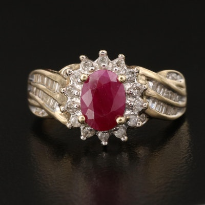 10K Ruby and Diamond Ring with Channel Set Shoulders