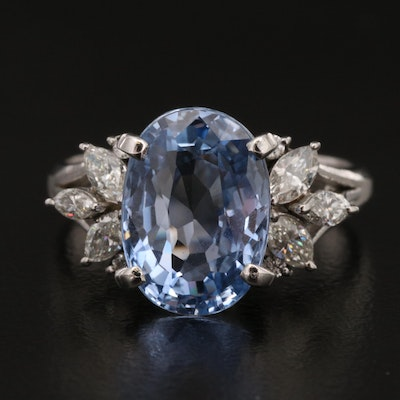Platinum 4.82 CT Sapphire and Diamond Ring with GIA Online Report