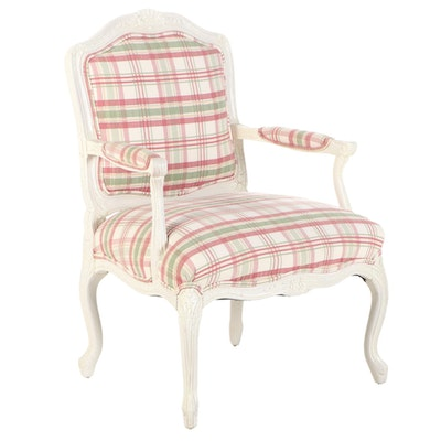 Louis XV Style White-Painted and Custom-Upholstered Fauteuil