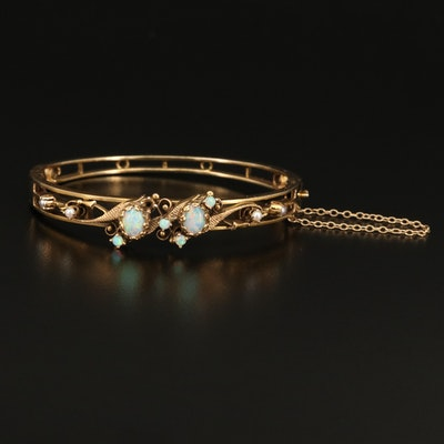 Vintage 14K Opal and Pearl Hinged Bangle