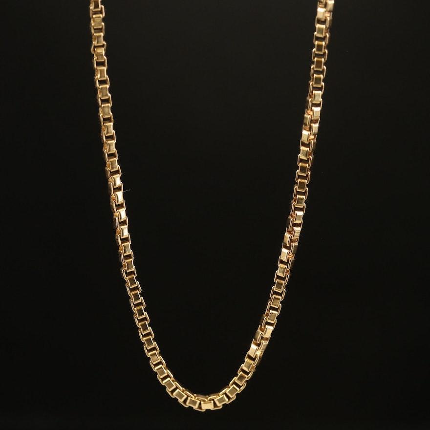18K Box Link Necklace