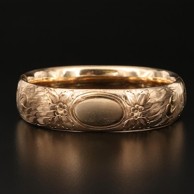 Vintage Rex Mfg. Co. Gold Filled Bangle with Floral Engraving