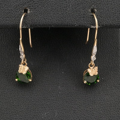 10K Diopside and Diamond Earrings with Butterfly Accents