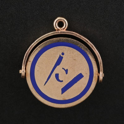 Masonic Enamel Thaumatrope Pendant