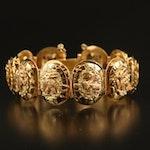 Vintage 18K Panel Bracelet with Mesoamerican Animal Warriors