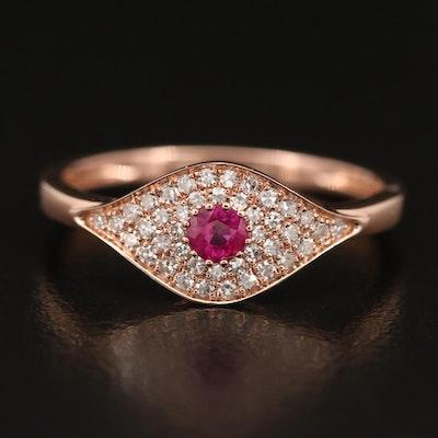 EFFY 14K Rose Gold Ruby and Diamond Evil Eye Ring