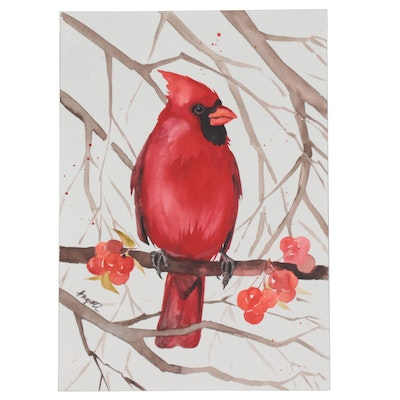 Anne Gorywine Watercolor Painting of Cardinal on a Branch with Berries