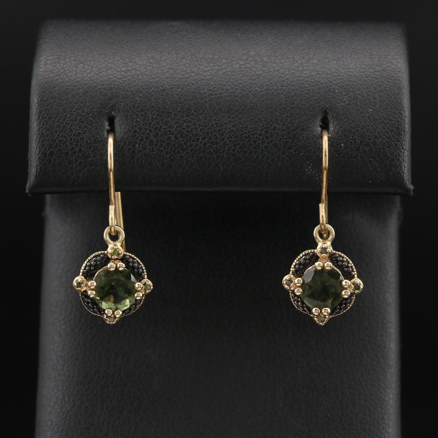 Sterling Moldavite and Diamond Earrings
