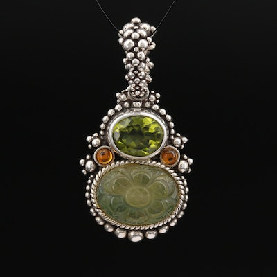 Stephen Dweck Sterling Carved Quartz Doublet and Gemstone Pendant