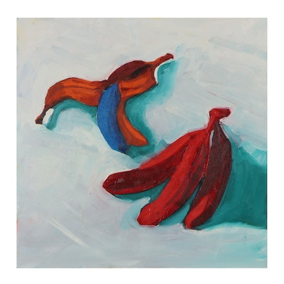 "Kaz Ooka Oil Painting ""Red Bananas,"" 21st Century"