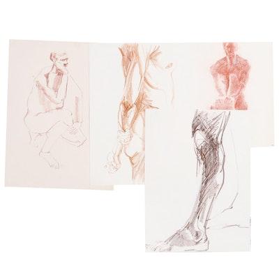 John Tuska Conté Crayon Figure Study Drawings, circa 1962