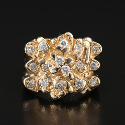 14K Diamond Nugget Ring