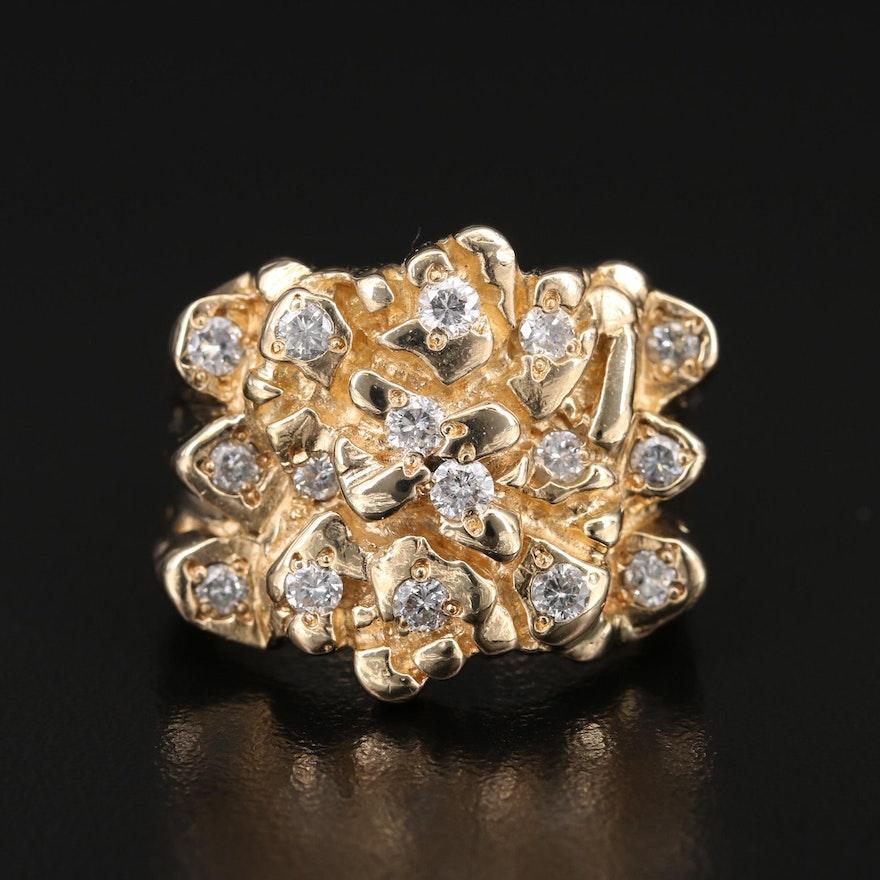 14K Diamond Nugget Ring