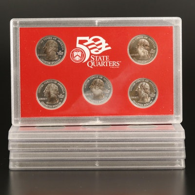 Four U.S. Mint Silver Proof and One Proof State Quarter Set