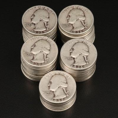 Sixty Washington Silver Quarters, 1930s