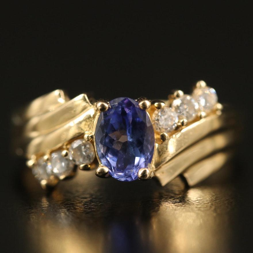 14K Tanzanite and Diamond Bypass Ring