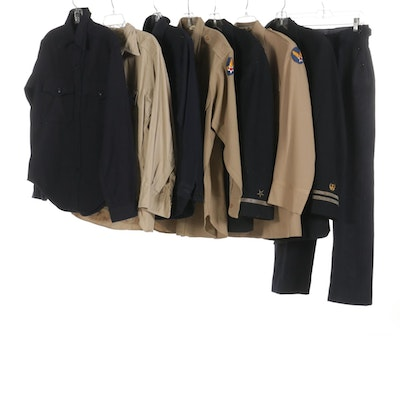WWII Era United States Navy and Army Shirts, Jackets and Trousers