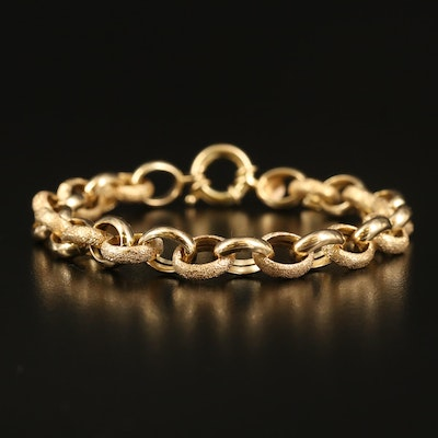 Italian Milor 14K Textured Cable Chain Bracelet