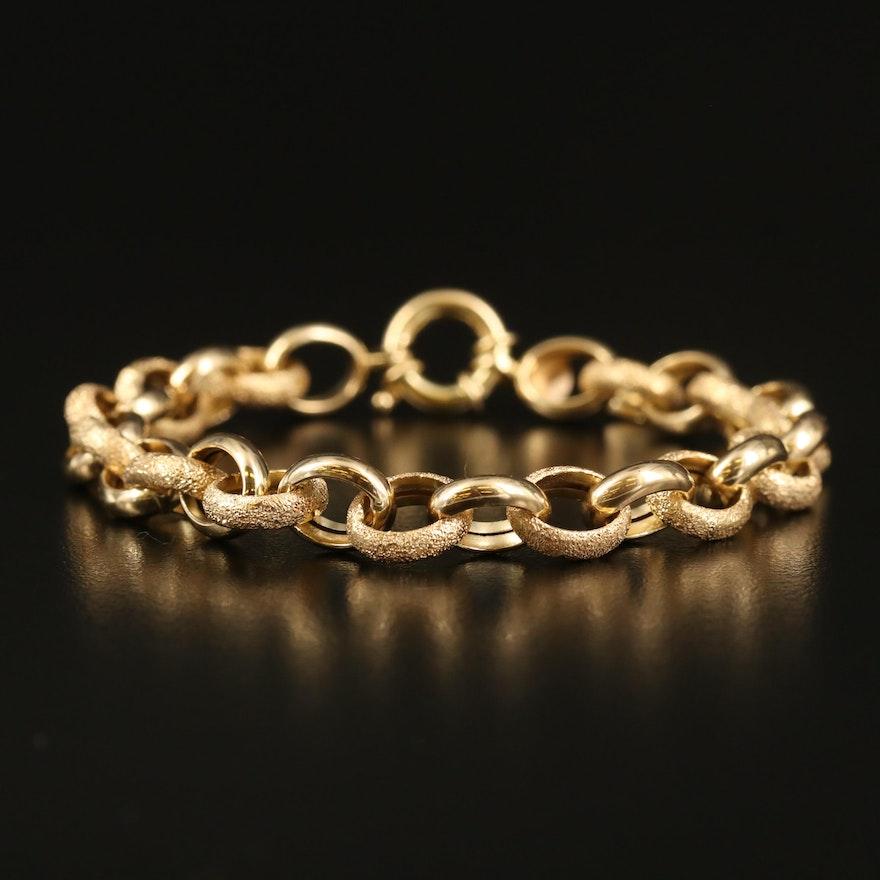 Italian Milor 14K Textured Cable Chain Bracelet