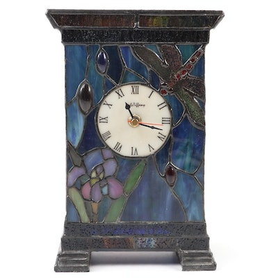 Dale Tiffany Stained Glass Light Up Desk Clock