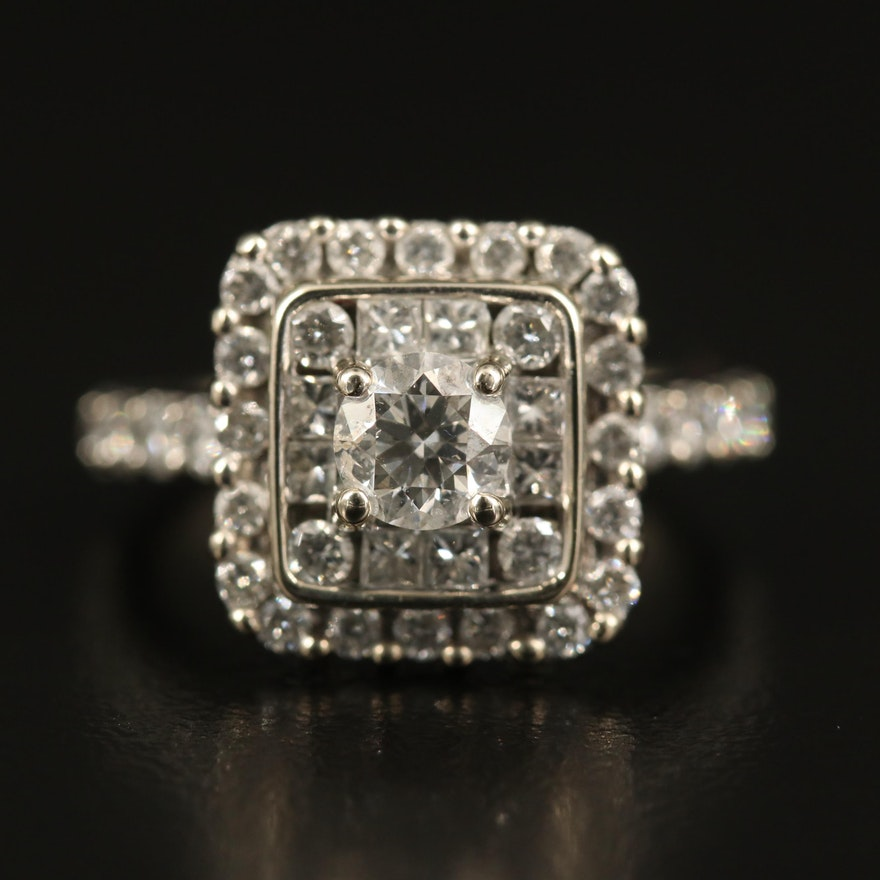 14K 1.68 CTW Diamond Square Ring