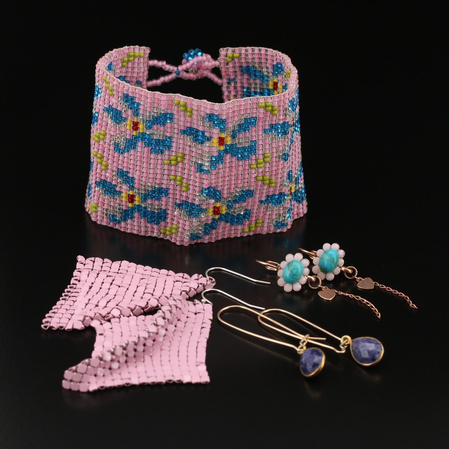 Beaded Flower Bracelet with Mesh and Drop Earrings