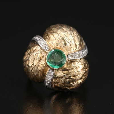 14K Emerald and Diamond Domed Ring with Textured Finish