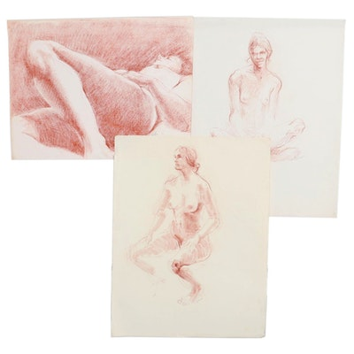 John Tuska Conté Crayons Figural Nude Drawings, Late 20th Century