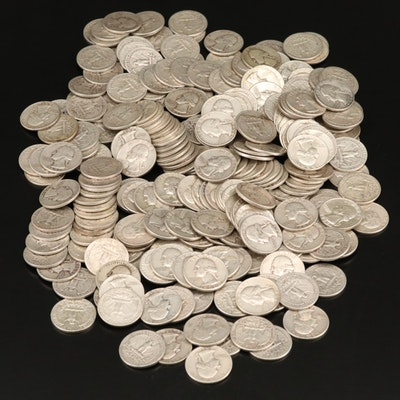 250 Washington Silver Quarters from the 1950s