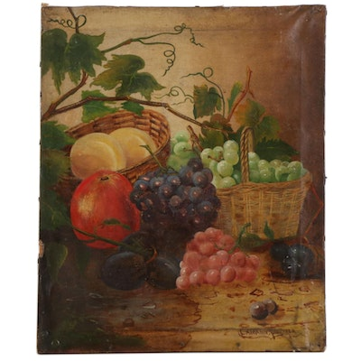Still Life Oil Painting of Fruit, 19th Century