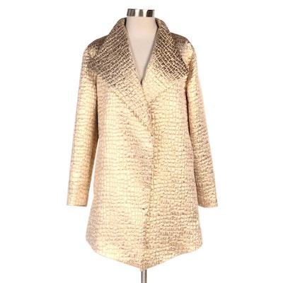 Chico's Gold Metallic Croc-Effect Textured Coat