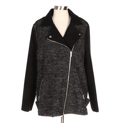 Wool Bouclé Asymmetrical Zip Jacket