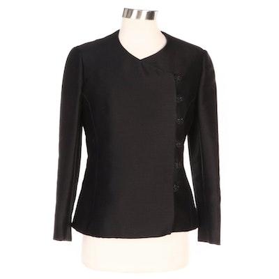 Junior Accent Black Asymmetric Button Jacket