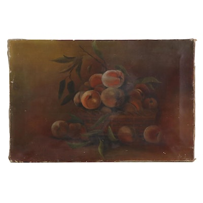 Still Life Oil Painting of Peaches, 19th Century