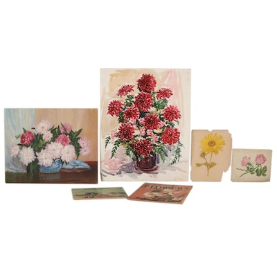 Floral Watercolor and Acrylic Paintings, Pencil Sketch, Lithograph and Art Books