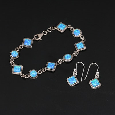 Sterling Opal Bracelet and Earring Set