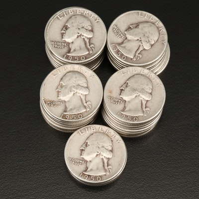 Forty 1950 Washington Silver Quarters