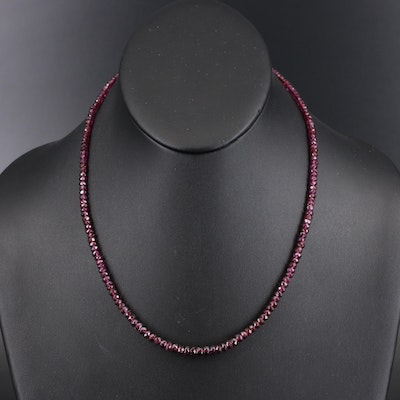 Graduated Garnet Beaded Necklace with 14K Clasp