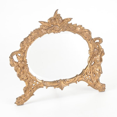 National Bronze and Iron Works Cast Bronze Vanity Mirror