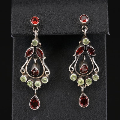 Sterling Garnet and Peridot Earrings